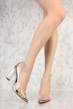 707cb08ffa Rose Gold Clear Accent Round Pointy Toe Single Sole High Heel Faux Leather