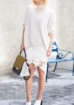 white sweater lace skirt heels+ handbag. Street spring elegant Women fashion outfit clothing style apparel @roressclothes closet ideas