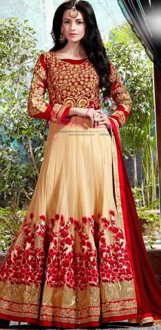 Salwar Kameez Online Shopping Cream Chiffon SemiStitch BZ4928D75601