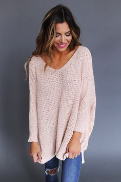 Oversize Dolman Sweater- Blush - Dottie Couture Boutique