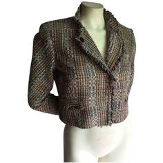 Pre-owned Theory S Tweed Silk Cropped Jacket Multi-colored Blazer ($119) ❤ liked on Polyvore featuring outerwear, jackets, blazers, silk jacket, brown tweed jackets, blazer jacket, multi color blazer and brown cropped jacket