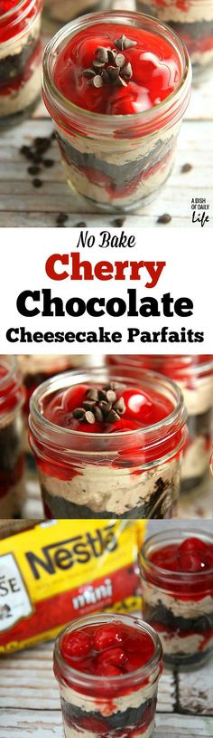 No need to heat the kitchen up! These No Bake Cherry Chocolate Cheesecake Parfaits are the perfect dessert recipe for barbeques or dinner parties, and they're easily transported in individual serving mason jars! shared at katherines corner No Bake Desserts, Easy Desserts, Delicious Desserts, Dessert Recipes, Yummy Food, Easy Snacks, Yummy Recipes, Cherry And Chocolate Cheesecake, Chocolate Cherry