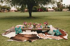 Outdoor tea party with low table and cowhide seating. Boho pillows. #teaparty #outsideallthetime