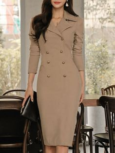 Fold Over Collar Decorative Buttons Plain Bodycon Dress – Keywordcat Tight Dresses, Nice Dresses, Casual Dresses, Dresses For Work, Awesome Dresses, Maxi Dresses, Bandage Dresses, Cheap Dresses, Elegant Outfit