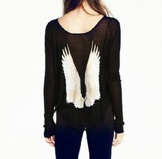 Printed retro wings loose t-shirts CS1104BE – Tepayi (this website has a ton of other cute clothes too)