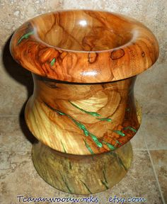 large turned wood vase epoxy resin inlay green vase wood turning art by Tcavanwoodworks