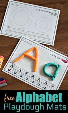 FREE Alphabet Playdough Mats – these printables are great to help toddler, preschool, prek, and kindergarten age kids learn to make their letters in a fun, hands on way. - Kids education and learning acts Homeschool Kindergarten, Preschool Learning, Toddler Preschool, Fun Learning, Alphabet Activities Kindergarten, Preschool Printables, Letter A Preschool, Learn To Read Kindergarten, Toddler Alphabet