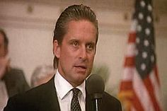 Michael Douglas in Alexander Kabbaz Shirt - Greed Is Good speech Wall Street movie