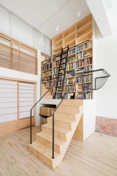 Work area with stairs and library