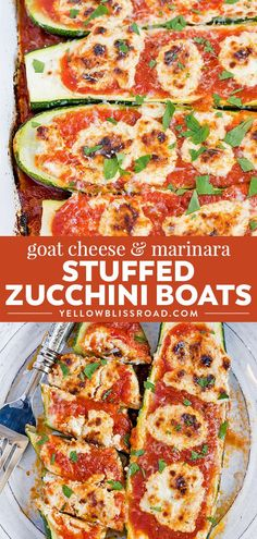 Fresh zucchini stuffed with goat cheese, Parmesan and marinara, then baked to perfection. These Goat Cheese and Marinara Stuffed Zucchini Boats are a tender and delicious, low-carb and gluten-free option for dinner or served as a side dish. Vegetarian Zucchini Boats, Vegetarian Cheese, Stuffed Zucchini Boats, Vegetarian Appetizers, Stuffed Zucchini Recipes, Baked Zucchini Boats, Stuffed Zuchini, Zuchinni Recipes, Healthy Zucchini