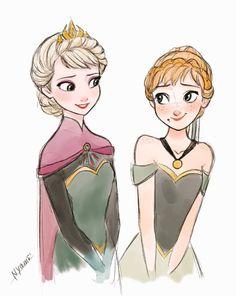 elsa e anna disney fans frozen, frozen love, disney frozen Anime Disney Princess, Anna Disney, Disney Princess Drawings, Disney Sketches, Disney Frozen Elsa, Disney Fan Art, Cute Disney, Disney Drawings, Princess Anna