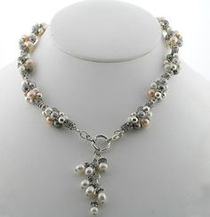 Triple Twist Necklace with Toggle Clasp Pearl, Sterling Silver
