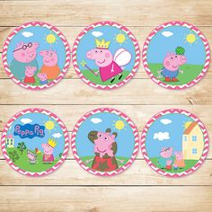 Peppa Pig Cupcake Toppers Pink Chevron // Peppa Pig Stickers // Peppa Pig Party Favor // Peppa Pig Birthday by ApothecaryTables on Etsy https://www.etsy.com/listing/208138619/peppa-pig-cupcake-toppers-pink-chevron