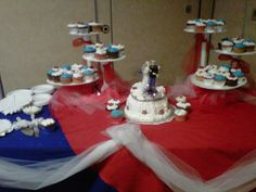 Idea to decorate table with cake for military retirement reception