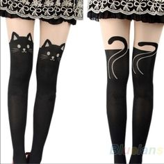 Buy Sexy Women black Cat Tail Gipsy Mock Knee High Hosiery Pantyhose Tattoo Legging Tights stockings at Wish - Shopping Made Fun Cat Tights, Cat Leggings, Tight Leggings, Tights Uk, Tattoo Tights, Silk Stockings, Lady Stockings, Christmas Stockings, Stocking Tights