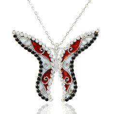 Kırmızı Beyaz Kelebek Desenli Rozlu Gümüş Kolye RHK101