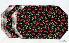 Set of 4 Reversible Place Mats Red Cherries $32