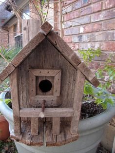 Rustic Birdhouse Designs | Rustic Birdhouse/ 100 Year Old Barnwood Rustic Ranch Birdhouse ...