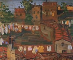 Ruhaszáritás olaszföldön (Drying clothes in Italy) by Lajos Gulácsy Italy, Landscape, Painting, Clothes, Hungary, Laundry, Artists, Red, Paisajes