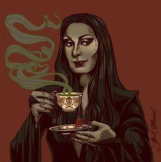 Every day is Halloween Gomez And Morticia, Morticia Addams, Dragon Age Elf, Los Addams, Tea Wallpaper, Charles Addams, Tim Burton Characters, Adams Family, The Dark World