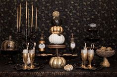 Gold and black Halloween party! See more party planning ideas at CatchMyParty.com!