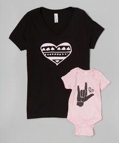 #littletreetops Look at this #zulilyfind! Black Heart V-Neck Tee & Pink Bodysuit - Infant & Women #zulilyfinds