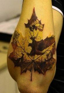 Tattoo yellow brown maple leaf