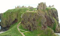 Dunnottar Castle Stonehaven, Scotland, The entry to the castle is through a tunnel in the rock face and up a winding stone path past the lion den.