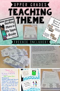 Teaching Theme in the Upper Grades and a FREEBIE This post is all about teaching theme in the upper grades using task cards, anchor charts, centers, and passages. A freebie is included! Reading Lessons, Reading Skills, Teaching Reading, Teaching Ideas, College Teaching, Teaching Strategies, Guided Reading, Teaching Literature, Math Lessons