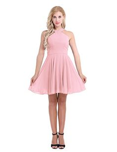 CHICTRY Women's CrissCross Chiffon Evening Party Prom Gown Bridesmaid Short Dress Pearl Pink 4 * Check out the image by visiting the link. (This is an affiliate link) Short Lace Dress, Dress For Short Women, Chiffon Dress, Short Dresses, Ball Gowns Evening, Evening Dresses, Evening Party, Cocktail Dress Prom, Cocktail Gowns