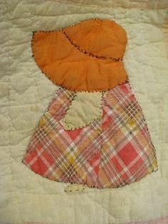 Sunbonnet Sue, vintage farm country hand-stitched applique quilt