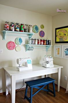 Like the embroidery hoops alternating with shelves