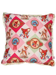 Cushion Pillow Cover Diamond Luxury by Wu & Wu Bambi, Kitsch, Vintage Love, Retro Vintage, Cushion Covers, Pillow Covers, Deer Pillow, Cushion Pillow, Vintage Handkerchiefs