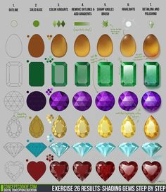 Exercise 26 Results: Shading Gems Step by Step by ConceptCookie: