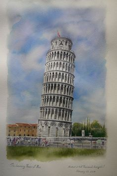 The Leaning Tower of Pisa is simply the Tower of Pisa. It's the campanile, or freestanding bell tower, of the cathedral of the Italian city of Pisa. The Leaning Tower of Pisa Watercolor Architecture, Watercolor Landscape Paintings, Watercolour Painting, Architecture Art, Painting & Drawing, Rome Painting, City Painting, A Level Art, Beautiful Architecture
