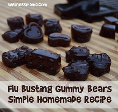 This Flu Busting gummy bears recipe is kid approved at our house. Made with homemade elderberry syrup and gelatin for an immune boosting, gut healthy treat. From Wellness Mama Cough Remedies For Adults, Cold Remedies, Natural Health Remedies, Herbal Remedies, Bloating Remedies, Holistic Remedies, Healthy Treats For Kids, Healthy Snacks, Fruit Snacks