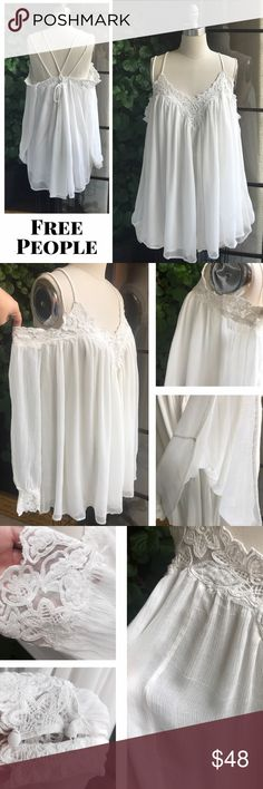 "FREE PEOPLE Boho off-the-shoulder romantic top FREE PEOPLE Boho off-the-shoulder romantic top, lace detail, lined, adjustable rope straps, approx 31"" long, great condition (please see pics for natural distress in fabric), no stains/rips/tears.  Runs big. Free People Tops Tunics"