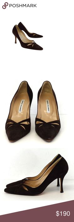 """Manolo Blahnik- Brown Suede Cutout Heels Sz 9 Rock these brown suede pumps to the office or out on the town. The cutouts on the toe add a glamorous touch. Size 9 (EU 39.5) Suede upper Leather soles Made in Italy Pointed toe Cutouts on toe Outsole wear Light scuffs on back Heel wear Heel height 3.75"""" Manolo Blahnikis a Spanish fashion designer and founder of the self-named, high-end shoe brand. This designer's shoes have been featured in movies and TV shows. They are extremelypopularin high…"""