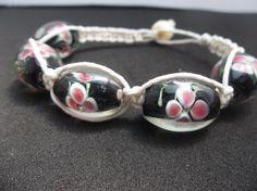 Hemp bracelet/ Glass bead bracelet // braided by CaliGirlCustoms, $12.99