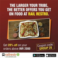 Travelling with or your entire of We have got your eating plans covered. Use the code to get off on orders above 2000 rupees. Orders can be placed through our You can also place order through our or just ring up at Veg Thali, Jain Recipes, Order Food Online, Tasty, Yummy Food, Train Journey, How To Get, How To Plan, Biryani