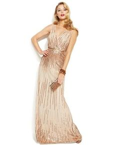 Adrianna Papell Sleeveless Sequin Illusion Gown - Dresses - Women - Macy's