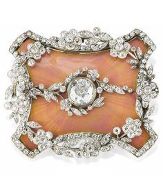 A Belle Epoque diamond and enamel pin, circa 1900