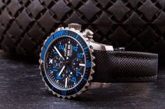 The stunning Fortis Aquatis Marinemaster Chronograph in blue. Space Travel, Chronograph, Bracelet Watch, Watches, Blue, Wristwatches, Clocks