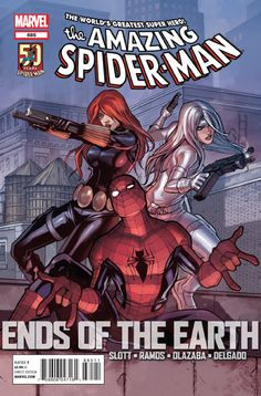 Spider-Man with Black Widow and Silver Sable on the cover of Amazing Spider-Man #685