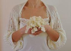Ivory Shrug Bolero Bridal Shrug Wedding Bolero Bridal Accessories Shrugs Boleros Romantic Soft Elegant Hand Knit. $75.00, via Etsy.