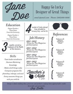 Have a resume stand out from the rest! Cv Design, Resume Design, Resume Layout, Graphic Design Typography, Lettering Design, Creative Resume, Unique Resume, Resume Examples, Resume Ideas