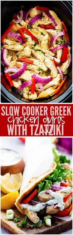 Easy to make chicken gyros that only take minutes to throw into the slow cooker!… Easy to make chicken gyros that only take minutes to throw into the slow cooker! They are light and delicious and packed with amazing greek flavor! Slow Cooker Huhn, Crock Pot Slow Cooker, Slow Cooker Chicken, Slow Cooker Recipes, Cooking Recipes, Healthy Recipes, Healthy Meals, Crockpot Meals, Crockpot Dishes