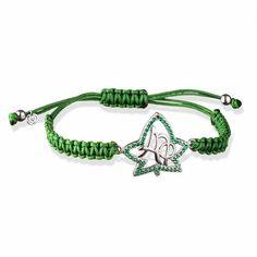 Alpha Phi Sterling Silver Green Cubic Zirconia Friendship Bracelet