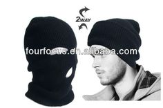 black warm full face cover winter ski mask beanie hat/2 holes beanie hat $0.5~$1