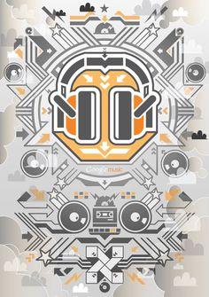 Illustration by Junichi Tsuneoka Creative Inspiration, Design Inspiration, Design Ideas, Google Event, Google Music, Triangle Square, Make Your Own Logo, Communication Art, Cool Posters